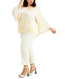 Plus Size Printed Pleated Top, Created for Macy's