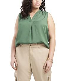 Women's Plus Size Sleeveless V- Neck Blouse