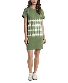 Women's Plus Size Short Sleeve Striped Tie Dye Knit Dress