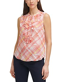 Printed Ruffle-Front Top