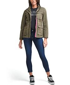 4-Pocket Contrast-Trim Military Jacket