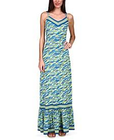 Mixed-Print Ruffle Maxi Dress, Regular & Petite
