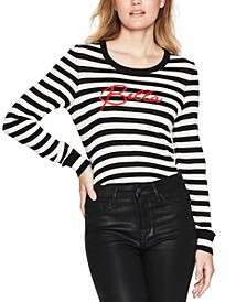 Striped Embroidered Sweater