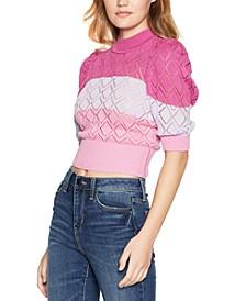 Striped Puff-Sleeve Mock-Neck Sweater