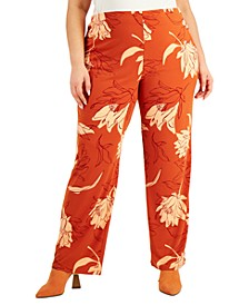 Plus Size Printed Straight-Leg Pants, Created for Macy's