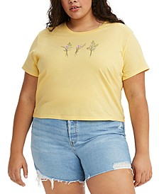 Trendy Plus Size Cotton Floral Graphic Surf T-Shirt