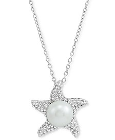 """Cultured Freshwater Pearl (10mm) Starfish 18"""" Pendant Necklace in Sterling Silver"""