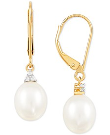 Cultured Freshwater Pearl (10x8mm) & Lab-Created White Sapphire (1/20 ct. t.w.) Drop Earrings in 14k Gold
