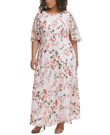 Plus Size Floral-Print Empire-Waist Flutter-Sleeve Dress