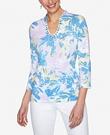 Women's Misses Knit Embellished Blossoms Top