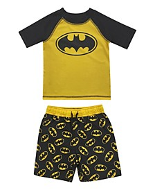Toddler Boys Batman Rash Guard and Trunk Set