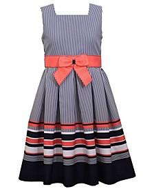 Little Girls Sleeveless Border Striped Dress