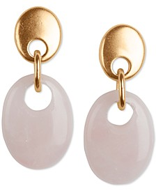 Gold-Tone Oval Stone Drop Earrings