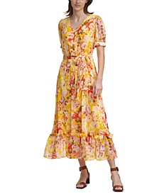 Printed Elbow-Sleeve Button-Front Chiffon Maxi Dress