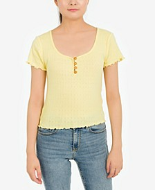 Juniors' Pointelle Scoop-Neck Top