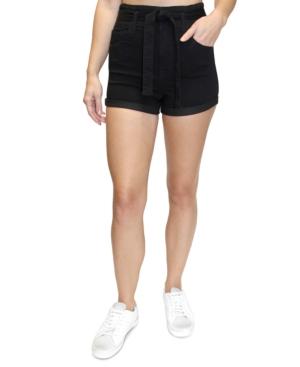Juniors' Belted High Rise Denim Shorts