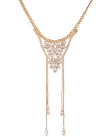 """Gold-Tone Crystal Box Chain Frontal Necklace, 16"""" + 2"""" extender"""