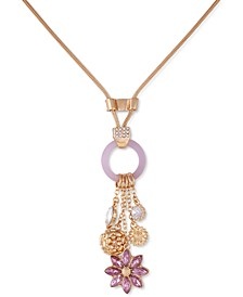 """Gold-Tone Purple Crystal Flower Charm Necklace, 20"""" + 2"""" extender"""