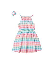Toddler Girls High-Neck Challis Dress with Matching Hair Tie