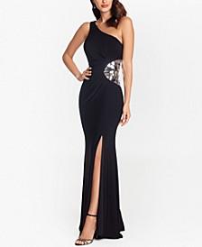 One-Shoulder Broken-Mirror Detail Gown