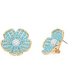 Cubic Zirconia & Colored Stone Flower Statement Stud Earrings