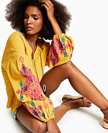 INC Cotton Embroidered-Sleeve Peasant Blouse, Created for Macy's