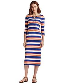 Petite Striped Lace-Up Cotton Midi Dress