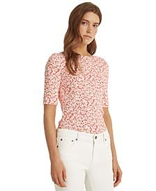 Petite Floral Cotton-Blend Top