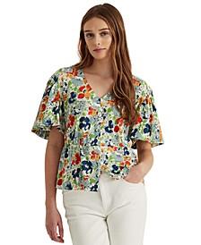 Petite Floral Linen Jersey Peplum Top