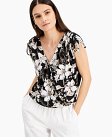INC Printed Surplice Top, Created for Macy's