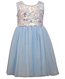 Little Girls Sequin Bodice To Mesh Ballerina Skirt with Sash and Bow at Back Waist