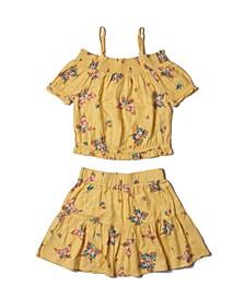 Big Girls Bardot and Skirt Challis Set