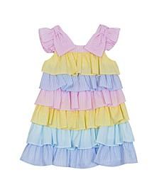 Little Girls Color Block Seersucker Dress