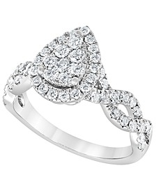 Diamond Pear Halo Ring (1 ct. t.w.) in 14K White Gold