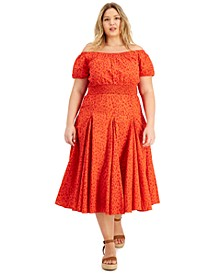 INC Plus Size Off-The-Shoulder Smocked Dress, Created for Macy's