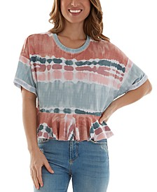Juniors' Printed Flounce T-Shirt