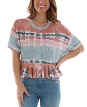 Juniors' Printed Flounce T-Shirt