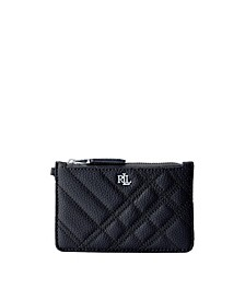 Quilted Plaid Leather Zip Card Case