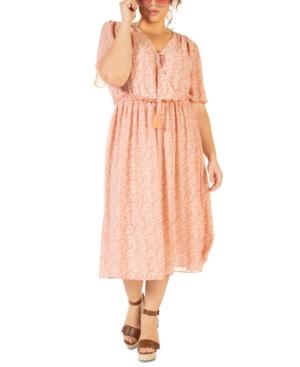 Plus Size Printed Wrap Midi Dress