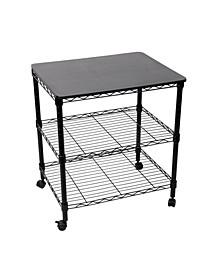 Steel Wire 3-Tier Rolling Utility Cart