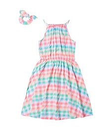 Girls 7-16 High Neck Challis Dress with Matching Scrunchie