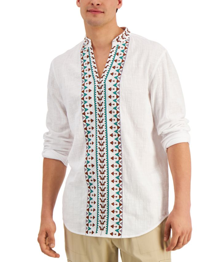 INC International Concepts INC Men's Embroidered Popover Shirt, Created for Macy's & Reviews - Casual Button-Down Shirts - Men - Macy's