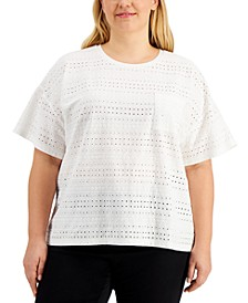 Plus Size Eyelet-Embroidered Top