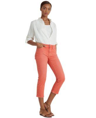 로렌 랄프로렌 Lauren Ralph Lauren Premier Straight Cropped Jeans,Islnd Hbsc