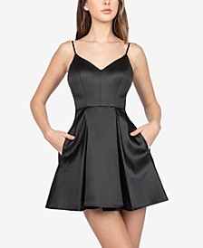 Juniors' Pleated A-Line Dress