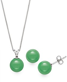 2-Pc. Set Dyed Jade Pendant Necklace and Stud Earrings in Sterling Silver (Also Available in Milky Aquamarine or Rose Quartz)