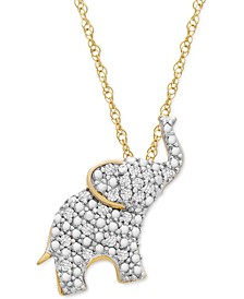 """Diamond Elephant 18"""" Pendant Necklace (1/10 ct. t.w.) in 10k Gold, Created for Macy's"""
