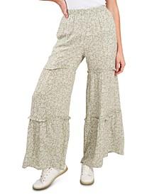 Floral-Print Ruffled Pants
