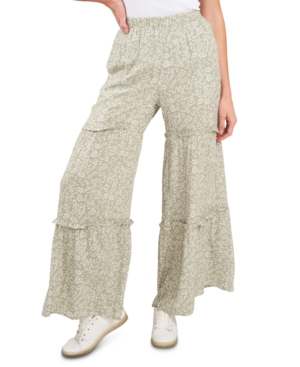 Cece Floral-print Ruffled Pants In Neutrals