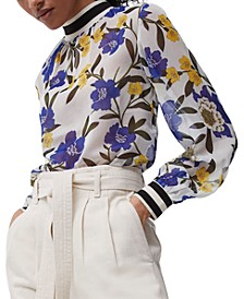 Eloise Floral-Print Crinkle Top